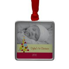 Mod Christmas Tree Baby's First Christmas Ornament