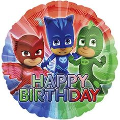 Catboy, Gekko, and Owlette with the words Happy Birthday below them and is perfect for using in a PJ Masks themed balloon bouquet. Helium inflation available in-store at Costumania at no additional cost. Happy Birthday Disney, Happy Birthday Foil Balloons, Happy Birthday Blue, Happy Birthday Parties, 3rd Birthday, Balloon Birthday, Pj Masks Balloons, Mylar Balloons, Latex Balloons