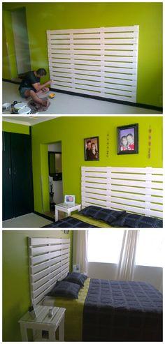 #Bedroom, #PalletHeadboard, #RecycledPallet