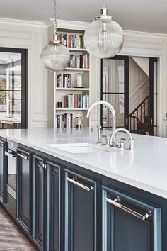 SUDBROOKE — Blakes London - A large kitchen island painted in BlackBlue from Farrow and Ball with a hard wearing ceaser stone wo - Rustic Kitchen Design, Kitchen Layout, Country Kitchen, Kitchen On A Budget, New Kitchen, Beautiful Kitchens, Cool Kitchens, Midcentury Modern, Future House