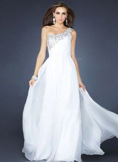 Evening Dresses - $130.24 - A-Line/Princess One-Shoulder Floor-Length Chiffon Evening Dress With Beading (0175055985)