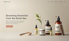 Visual identity for Maapilim, makers of grooming essentials from the great sea, inspired by the concept of slow living Website Layout, Web Layout, Layout Design, Web Design Trends, Ecommerce, Cosmetic Design, Cosmetic Web, Visual Identity, Identity Branding