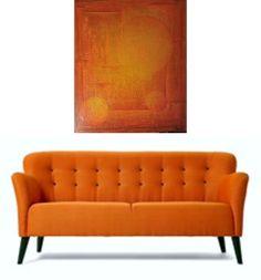Solens univers 70x60 cm. Akryl på lerret m/ strukturer (mixed media).  Bildet går i fargene: Gul, okergul, orange, brent orange, rød-orange, rødbrun, rust, brun.(beklager at bildet ser litt rødere ut her enn i virkeligheten)   For å se detaljer eller strukturer osv. i maleriet, kan duklikke opp bildetellerbevege musepekeren over bildet. Love Seat, Abstract Art, Couch, Furniture, Home Decor, Abstract, Photo Illustration, Settee, Decoration Home