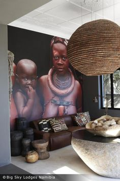 Huge portrait photo in a lovely African sitting room. The Olive Exclusive Boutique Hotel, Namibia