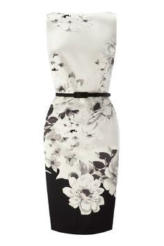 Idreammart Vintage Ladies' Black & White Polyester Lotus Printed Short Pencil Dress - iDreamMart.com