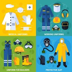 Color flat composition showing different protective uniform equipment for people vector illustration. Editable EPS and Render in J