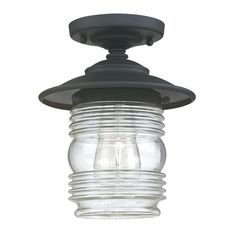 Capital Lighting Fixtures 9677BK Creekside 1 Light 8 inch Black Outdoor Semi-Flush in Clear