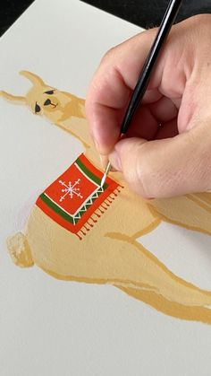 Painting a Holiday Llama with gouache by Philip Boelter, Diy Abschnitt, Art Sketches, Art Drawings, Cute Paintings, Indian Paintings, Canvas Paintings, Posca Art, Mini Canvas Art, Gouache Painting, Acrylic Art
