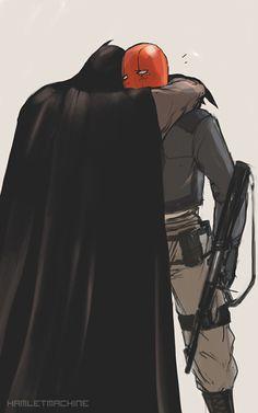 Batman and Red Hood-Bruce Wayne and Jason Todd. This is just adorable Nightwing, Batwoman, Batgirl, Tim Drake, Batman Y Superman, Batman Robin, Batman Arkham, Batman Art, Pastel Outfit