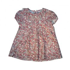 Baby dress floral carmine and grey