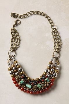Multistrand Necklace || antiqued bronze jewel tone beads - anthropologie