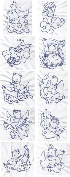Bluework Bears Embroidery Machine Design Details