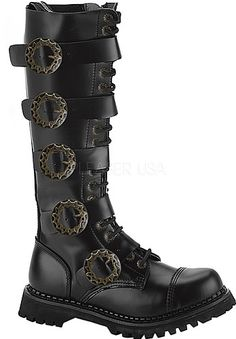 Steam-20, mens Steampunk leather boots Demonia