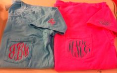 Monogram Comfort Colors Big/Little/Gbig on Sleeve Pocket Tees by The Initialed Life