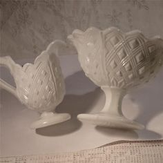 "AN ANTIQUE GEORGE "" DAVIDSON "" WHITE PRESSED GLASS SUGAR BOWL & MILK JUG"
