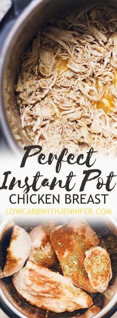 This easy Instant Pot shredded chicken breast recipe is ready in under 30 minutes and the flavors are completely customizable! You can use fresh or frozen chicken breast. #instantpotrecipes #chickenbreastrecipes #lowcarbmeals #ketorecipes