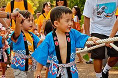 Children participating in the Japanese Festival activities at the Missouri Botanical Garden