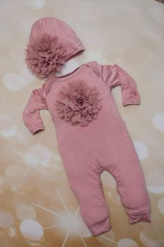 b0f809e3df3f Baby Girl Rose Romper Mauve Infant Layette Cotton Baby Romper with Large  Chiffon On The Chest and Matching Hat