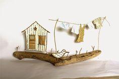 """Jour de lessive : linge qui sèche dans le jardin en découpes de papier et portique en fil de kraft armé et ficelle - création Epistyle - (autres modèles dans """"Scrap Couture Mode..."""")"""