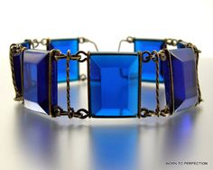 Wire Cobalt Blue Early Plastic Bracelet by worn2perfection on Etsy