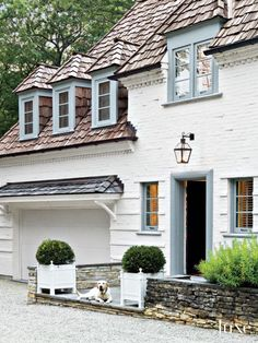 49 Chic Spaces with Dogs LuxeDaily - Design Insight from the Editors of Luxe Interiors + Design French Country Farmhouse, Farmhouse Design, French Country Exterior, French Cottage, Farmhouse Style, Exterior Paint, Exterior Design, Exterior Shutters, Exterior Colors