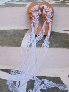 Gladiator Sandals with white lace straps by GreekChicHandmades, $72.00
