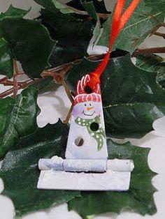 Snowman and Santa Hinge ornaments