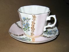 Vintage Royal Grafton Tea Cup and Saucer Bone China Pink with Blue Flowers