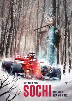Ferrari poster van Grand Prix in Rusland
