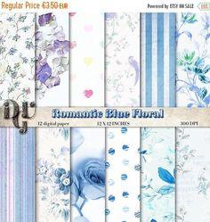 40% Flower Digital Paper Romantic Blue Floral Paper Pack