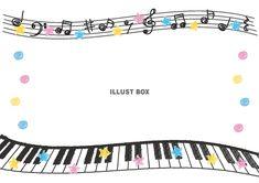 鍵盤と音符のフレーム(手描き風)