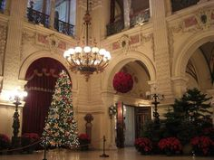The Great Hall at Christmas time.  The room is 50 feet in every direction and has 4 chandeliers.