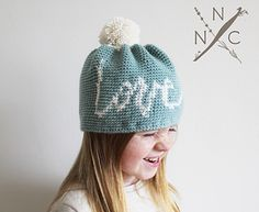 The Agape Beanie is a truly unique crochet pattern featuring my own hand lettering translated into a tapestry design.