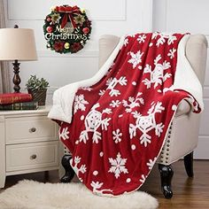 "Christmas Throw Blanket 60"" x 80"" Red/White"