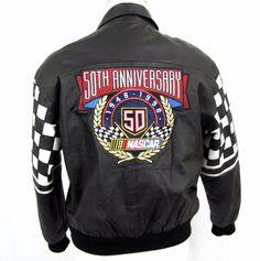 Jeff Hamilton Nascar Jacket Medium Black Leather Bomber 50th Anniversary Racing #JeffHamilton #FlightBomber