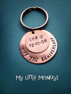 7th Wedding Anniversary Gift - Copper Gift - Custom Hand Stamped Keychain