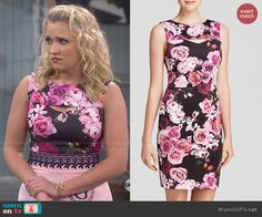 Gabi's black and pink floral mini dress with cutout on Young and Hungry.  Outfit Details: http://wornontv.net/47982/ #YoungandHungry