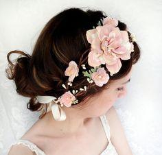 romantic pink flower bridal headpiece, flower crown, wedding hair wreath - LAMBS EAR - pale green and ivory