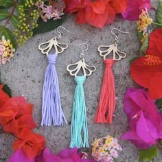 AURORA earrings are ostentatious, but extremely light statement earrings. A pair of earrings only weighs about 5 grams. Statement Earrings, Tassel Necklace, Drop Earrings, Sustainable Fashion, Aurora, Summer Outfits, Coral, Summer Wear, Drop Earring