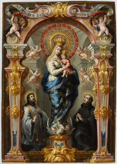 Our Lady of Good Counsel, c. 1680 Bartolomé Pérez (Spanish, 1634-1693) oil on copper, Framed - h:50.00 w:40.00 cm (h:19 5/8 w:15 11/16 inches) Unframed - h:37.00 w:26.00 cm (h:14 9/16 w:10 3/16 inches). Purchase from the J. H. Wade Fund 2012.5 | Cleveland Museum of Art