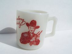 Hopalong Cassidy Fire King Mug Rare Red Print with Two Guns