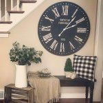 We love the shiplap appeal of our farmhouse clock and think you will, too. Farmhouse Style, Farmhouse Decor, Black Clocks, Farmhouse Wall Clocks, Simple House, Home Projects, Family Room, Interior Decorating, House Design