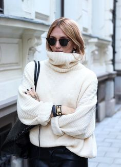Dahlberg In Ray-Ban Clubmaster Sunglasses, Oversized Turtleneck Sweater