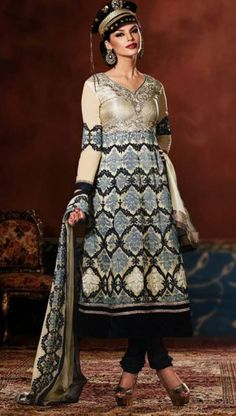 Adorable Cream And Black Color Jacquard Designer Churidar Kameez. Sale : $129.00