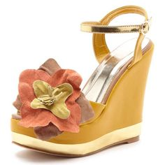 Spotted while shopping on Poshmark: ✨SALE🌟 mustard yellow wedges with flower decal!! #poshmark #fashion #shopping #style #Bucco #Shoes