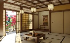 Classic Japanese Style Interior Design History With Interesting Interor In Living Room Pendant