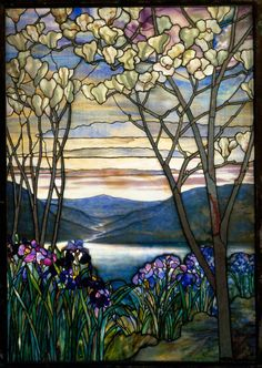 'Magnolias and Irises' ( leaded Favrile glass, circa 1908). Designed by Louis Comfort Tiffany (1848–1933 ) for Tiffany Studios  (1902–32).Image and text courtersy The Metropolitan Museum of Art