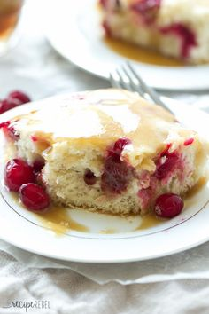 Cranberry Cake with Caramel Sauce Recipe ~ Moist vanilla cake filled with cranberries and covered in a warm caramel sauce! An elegant holiday dessert that is super easy! ~ http://www.julieseatsandtreats.com