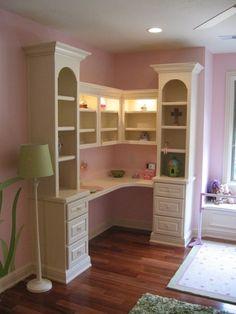 For Hannah's room as she gets older. Built-in desk/bookcase designed for a child's bedroom with all adjustable shelving Bookcase Desk, Desk Shelves, Bookshelves Built In, Built In Desk, Shelving Decor, Small Bookcase, Bookcases, Built Ins, Desk In Living Room