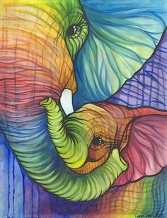 Choose your favorite animal paintings from millions of available designs. All animal paintings ship within 48 hours and include a money-back guarantee. Image Elephant, Elephant Love, Elephant Art, Elephant Stuff, Colorful Elephant, Pintura Graffiti, Tatoo Dog, Hug Pictures, Wall Pictures